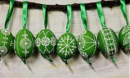 Dekorácie - KRASLICE /slepačie maľované vajíčka/ - zelená - 3748730_