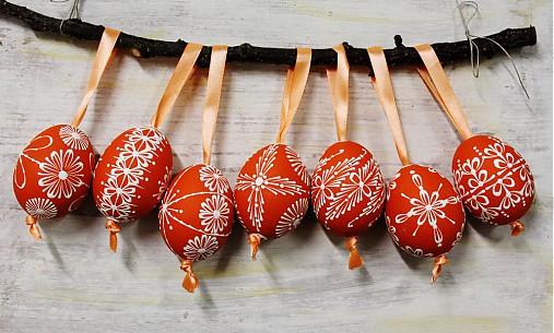 Dekorácie - KRASLICE /slepačie maľované vajíčka/ - tmavá orange - 3748627_