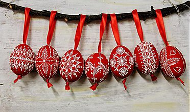 Dekorácie - KRASLICE /slepačie maľované vajíčka/ - červené - 3748671_
