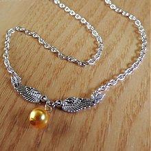 Náhrdelníky - Zlatá okrídlená perlička - 3752685_