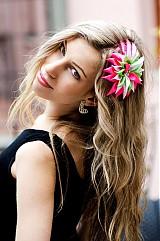 Ozdoby do vlasov - Ružovo-zeleno-biely kvet do vlasov - 3753041_