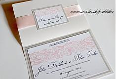 Papiernictvo - Svadobné oznámenie SILVER PINK II. - 3759358_