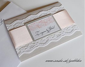 Papiernictvo - Svadobné oznámenie SILVER PINK - 3759269_