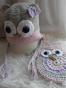 Detské čiapky - Set čiapočky a kabelky - SOVIČKA - 3763771_