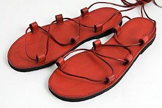Obuv - Kožené sandále Red - 3763981_