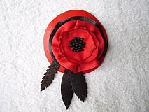 - Brošňa koženo-textilná, čertica voňavá - 3767417_