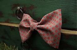 Doplnky - Pánsky motýlik s červenými bodkami - 3773385_