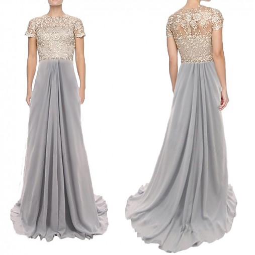 Spoločenské šaty z krajky s plastickým vzorom a šifónu   Dyona ... 7148fd88ebb