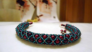 Náramky - Perličkový náramok fialkovo-tyrkysový - 3773194_