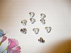 Korálky - kovové ružičky - 10 ks - 3775073_