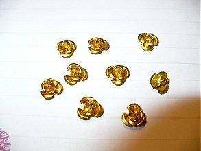 Korálky - kovové ružičky - 10ks - 3775174_