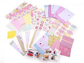 Papier - Scrapbooking sada blahoželaní a doplnky ružová - 3778214_