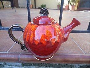 Nádoby - Čajník červeno - oranžový - 3778114_