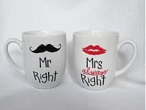 Nádoby - Sada hrnčekov - Mr. and Mrs. Right (kónické hrnčeky) - 3780246_