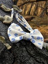 Doplnky - Pánsky motýlik - modrý kvietok v lese - 3782952_