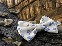 Doplnky - Pánsky motýlik - modrý kvietok v lese - 3782953_