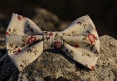 Doplnky - Pánsky motýlik - červená ruža - 3783138_