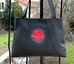 Veľké tašky - čierna s ružou - 3784508_