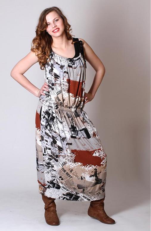 Černohnědobílá volná šatová sukně   ladeesse - SAShE.sk - Handmade Šaty 577b96f49df
