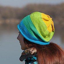 Čiapky - Bavlnená modro zeleno žltá - 3790348_