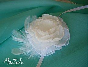 Náramky - svadobný náramok s pierkami - 3787915_