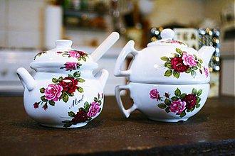Nádoby - Čajový set s nádobou na med - ruže - 3787560_