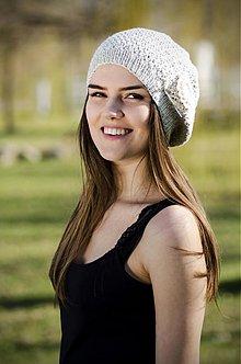 Čiapky - Bareta bavlnená so stužkou a brošňou - 3792007_
