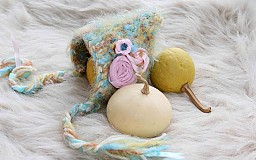 Detské čiapky - s ružovými kvetmi - 3794750_