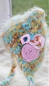 Detské čiapky - s ružovými kvetmi - 3794752_