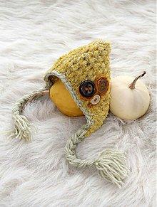 Detské čiapky - Horčicová s gombíkmi - 3794689_
