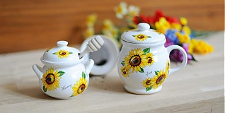 Nádoby - Set šálka na sypaný čaj s medom - slnečnica - 3798422_