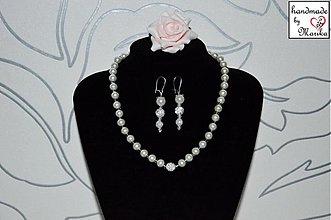 Náušnice - svadobný set perly - sada č. 4. /náušnice a náhrdelník/ - 3805849_