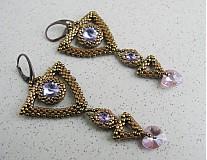 Náušnice - Geometria a swarovski...violet/bronze - 3803299_