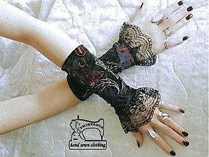 Rukavice - VÝPREDAJ ! Zamatové rukavičky vyšívané 0010 - 3816103_