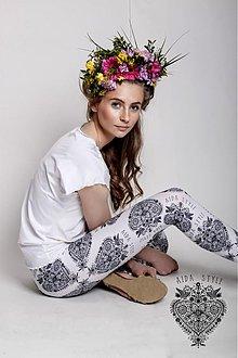 Nohavice - Countrygirl - legínky black&white - 3821081_