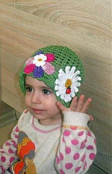 Detské čiapky - Vojensko zeleny klobucik kvetinkovy - 3821713_