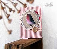 Papiernictvo - Vtáčik v červenom - 3824121_
