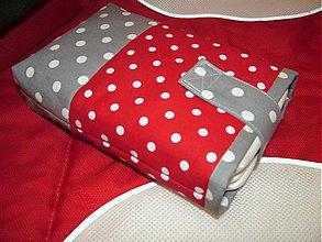 Detské doplnky - Puzdro na plienky červeno-sivé - 3828307_