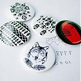 Odznaky/Brošne - Navajo čiernobiela séria (58mm) - 3829282_