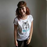 Tričká - Dievča s vlkom (čierno-tyrkysová potlač) - 3829439_