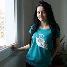 Tričká - Sovä (tyrkysové tričko) - 3828117_