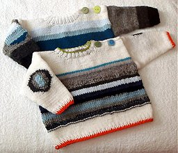 Detské oblečenie - Svetroško sivo-biely s oranžovým lemovaním - 3832014_