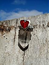 Srdce s horským krištáľom-prívesok-tiffany