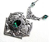 Náhrdelníky - Baroque heart green - 3835649_