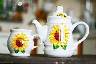 Nádoby - Set čajník a šálka - Slnečnice - 3834670_