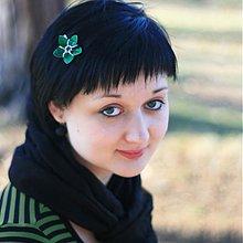 Ozdoby do vlasov - Zelený kvíteček - sponka - 3843715_