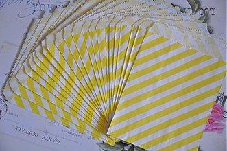 Obalový materiál - papierovy sacok zlte pruhy - 3847494_