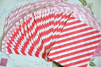 Obalový materiál - papierovy sacok cervene pruhy - 3847522_