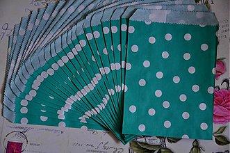 Obalový materiál - papierovy sacok modrozelena bodka - 3847538_