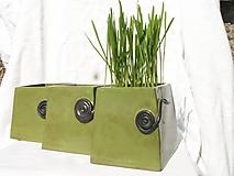 """Nádoby - Dóza zelená hranatá so špirálkou """"fresh"""" dekor - 3848078_"""